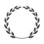 Laurel wreath made like ring placed on white background. Vector icon illustration.