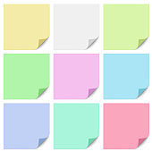 A set of different color square sticky paper notes with a bent right bottom corner. Vector illustration.