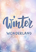 Christmas card. Winter wonderland hand drawn text. Sparkling glowing lights. Background with bokeh effect.