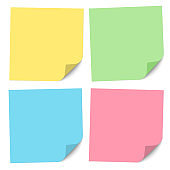 Set of note papers of different colors with a bent right bottom corner. Vector illustration.