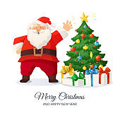 Merry Christmas card. Cartoon vector illustration of Santa Claus and decorated Christmas tree with presents.