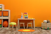 Stylish children's room interior with toys and new furniture