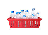 Crate with plastic bottles on white background. Trash recycling