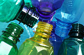 Used plastic bottles as background, closeup. Recycling problem