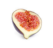 Half of ripe purple fig on white background