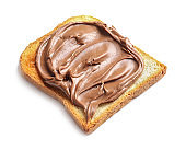 Toast bread with tasty chocolate spread on white background