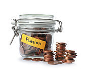 Coins in glass jar with label 'PENSION' on white background