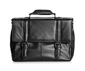 Black male leather briefcase on white background