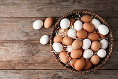 Basket with raw chicken eggs on wooden background, top view. Space for text