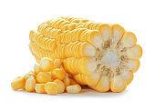 Tasty sweet corn cob on white background