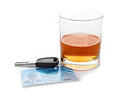 Glass of alcohol, car key and driver license on white background. Responsible driving concept