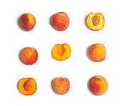 Composition with ripe peaches on white background, top view