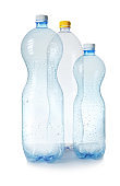 Three plastic bottles on white background. Recycle concept