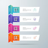 Infographics design vector paper art style and business icons with 4 options.