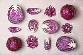Flat lay composition with ripe red cabbage on table
