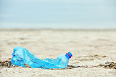 Used plastic bottle on beach, space for text. Recycling problem