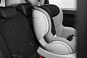 Empty baby seat inside car. Child safety