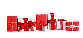 Beautifully wrapped gift boxes on white background