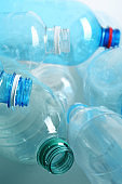 Many plastic bottles as background, closeup. Recycle concept