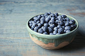 Crockery with juicy and fresh blueberries on wooden table