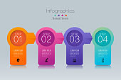 Timeline infographics design vector and business icons with 4 options.