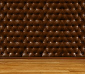 Empty room - retro upholstery wall with wooden floor. User for background