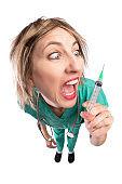 Crazy Fisheye Nurse With Syringe
