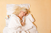 Beautiful young blonde sound a sleep, beauty sleep directly above shot