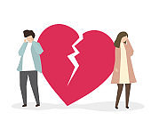 Couple with broken heart illustration