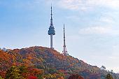 Autumn of Namsan Tower in Seoul,South Korea.