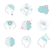 Medical brain icons