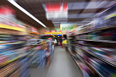 blurred motion of a market in usa