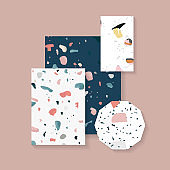 Colorful Terrazzo seamless pattern tags vector set