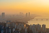 Sunrise of Seoul City,South Korea.dust Pm