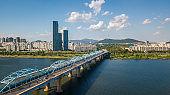 Aerial view of Seoul City,South Korea