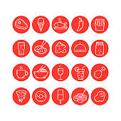 Food and Drink round icons