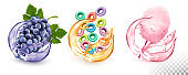 Set of different products flavors in juice splash. Grapes,  fruit-flavored cereal, cotton candy. Vector icons.
