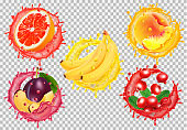 Set of fruit juice splash. Grapefruit, peach, banana, plum, cowberry. Vector