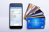 Mobilephone With Online Banking App And Credit Cards