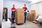 Portrait Of Two Young Movers With Stack Of Cardboard Boxes