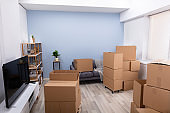 Cardboard Boxes In An Empty Apartment