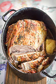 Roast pork shoulder with onion