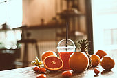 Refreshing healthy orange and grapefruit juice