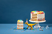 Dinosaur and Birthday Cake