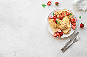 Crepes with ricotta, strawberries