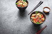Stir fried soba noodles, shrimps