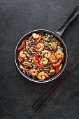 Stir fry with shrimp soba