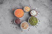 Assortment of colorful legumes
