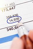 Fountain pen rings figure on financial document