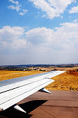 Passenger airplane on the runway at Lanseria Airport, Johannesburg, South Africa